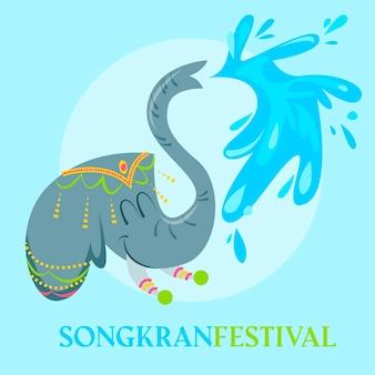 Ilustração de celebração de songkran desenhada à mão