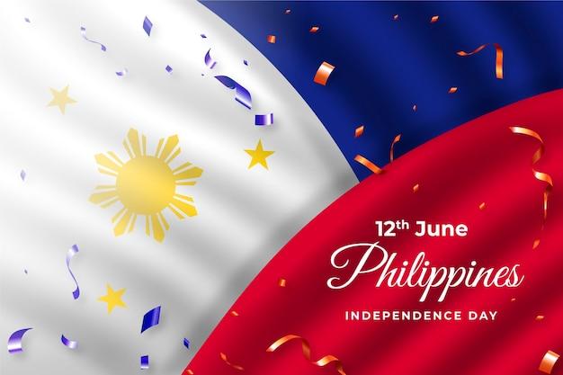 Ilustração de celebração do dia da independência das filipinas gradiente