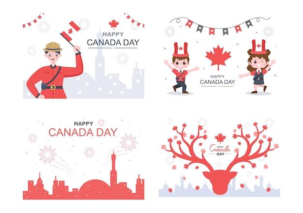 Ilustração de celebração do feliz dia do canadá