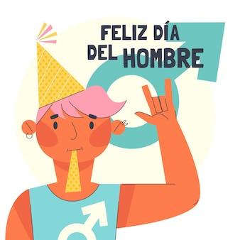 Ilustração de celebração do flat dia del hombre