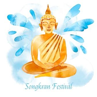 Ilustração de celebração em aquarela songkran