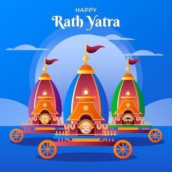 Ilustração de celebração gradiente rath yatra
