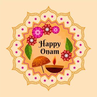 Ilustração de celebração plana indiana onam