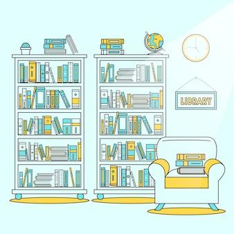 Ilustração de cena de biblioteca em estilo de linha plana