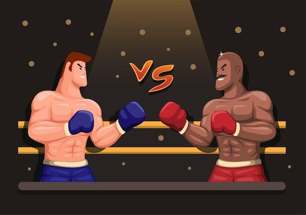 Ilustração de cena de boxe