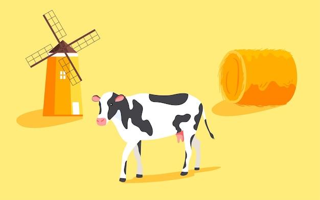 Ilustração de cena de colheita de fazenda de outono paisagem rural de outono pôster de agricultura