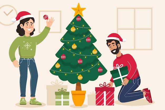 Ilustração de cena de decoração de árvore de natal