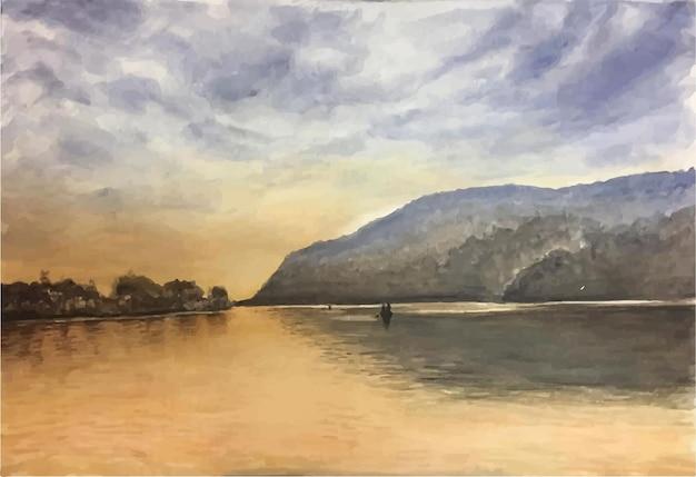 Ilustração de cena de montanha e mar em aquarela desenhada à mão