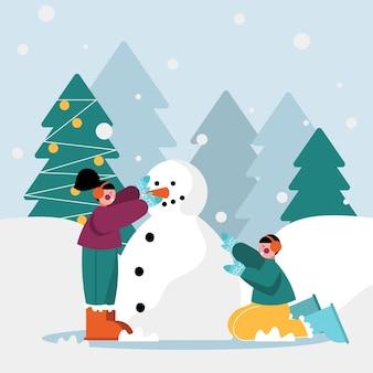 Ilustração de cena de neve de natal com crianças