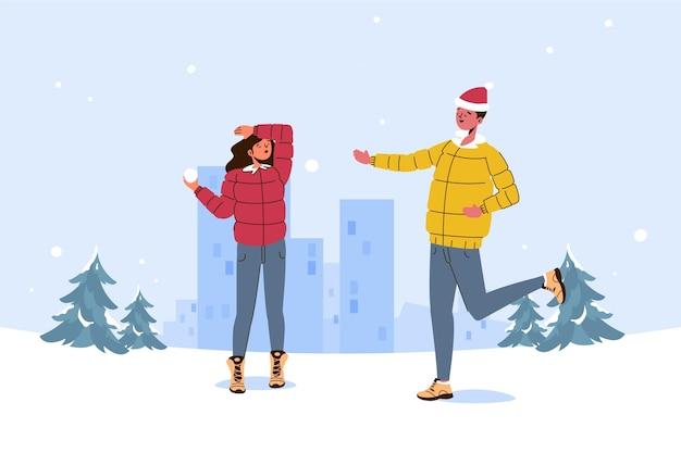 Ilustração de cena de neve de natal