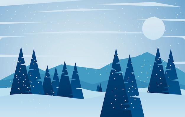 Ilustração de cena de paisagem de inverno de beleza azul