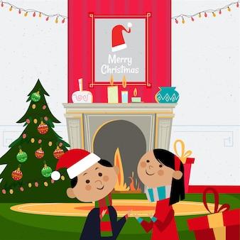 Ilustração de cena de presentes de natal