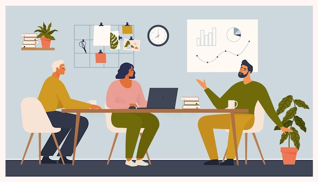 Ilustração de cena em apartamento de escritório