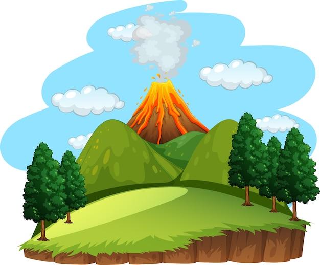 Ilustração de cena externa de erupção vulcânica