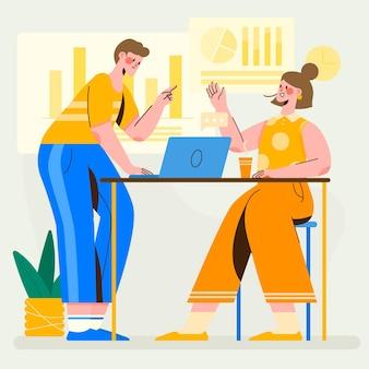 Ilustração de cena orgânica plana de trabalho