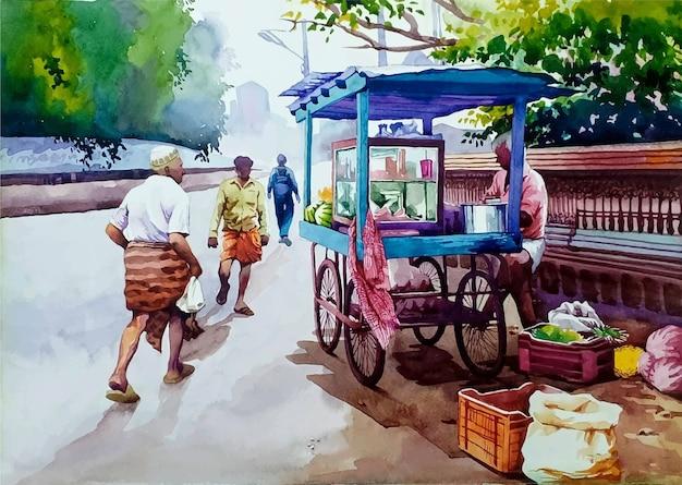 Ilustração de cena romântica em aquarela desenhada à mão