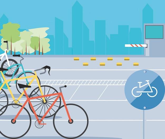 Ilustração de cena urbana de zona de estacionamento de bicicletas