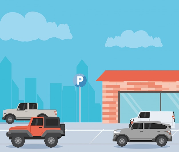 Ilustração de cena urbana de zona de estacionamento
