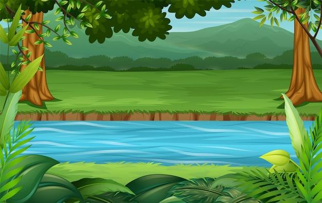 Ilustração de cenário de natureza de fundo vazio