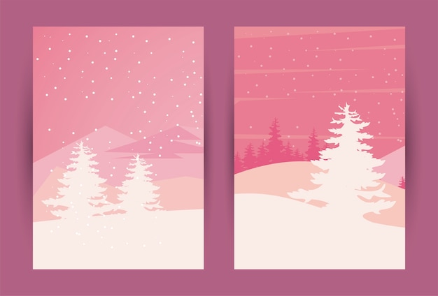 Ilustração de cenas de belas paisagens de dois rosa de inverno