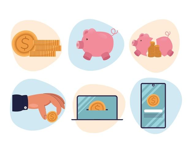 Ilustração de cenografia de ícones de negócios, gestão financeira e tema de dinheiro