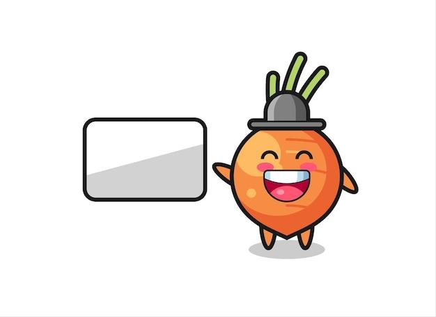 Ilustração de cenoura fazendo uma apresentação, design de estilo fofo para camiseta, adesivo, elemento de logotipo