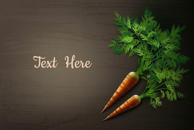 Ilustração de cenoura na mesa de madeira
