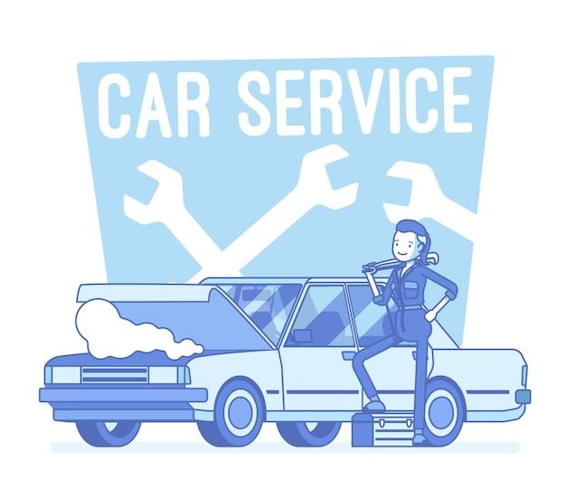 Ilustração de centro de serviço de carro