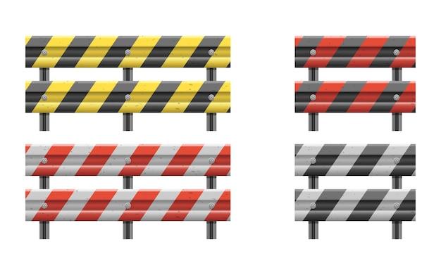 Ilustração de cerca de barreira de estrada metálica isolada no branco