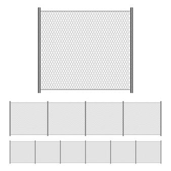 Ilustração de cerca de malha de arame isolada no branco