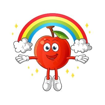 Ilustração de cereja com mascote de arco-íris