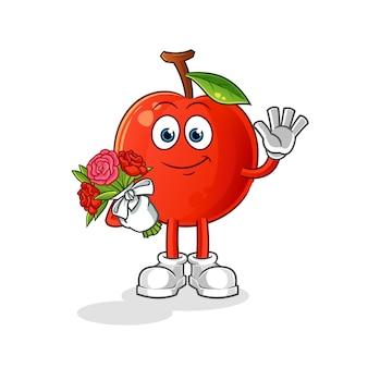 Ilustração de cereja com mascote de buquê