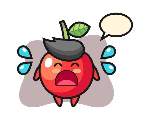 Ilustração de cereja dos desenhos animados com gesto a chorar, design de estilo bonito