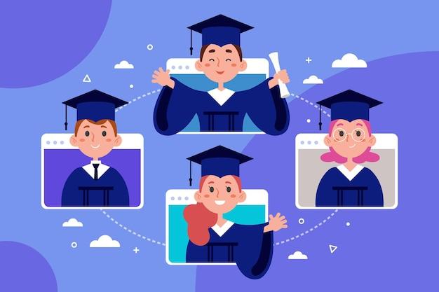 Ilustração de cerimônia de graduação virtual com alunos