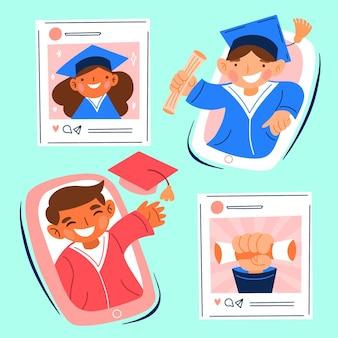 Ilustração de cerimônia de graduação virtual com estudantes