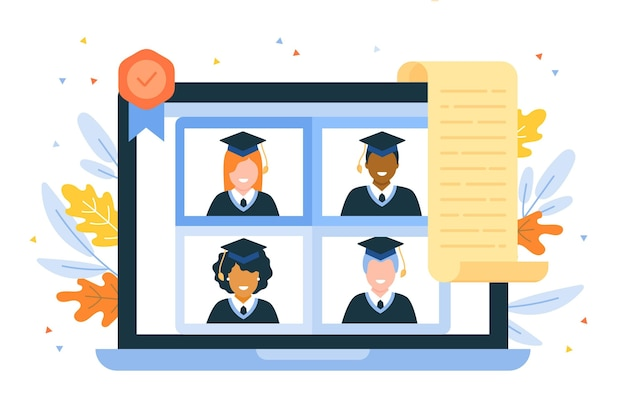 Ilustração de cerimônia de graduação virtual