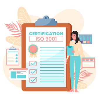 Ilustração de certificação iso com mulher e bloco de notas