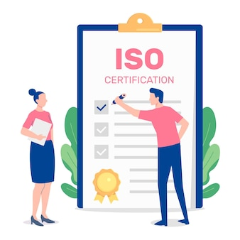 Ilustração de certificação iso com pessoas e bloco de notas