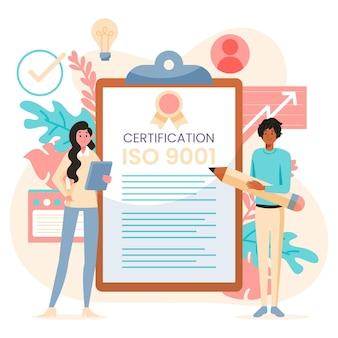 Ilustração de certificação iso com pessoas