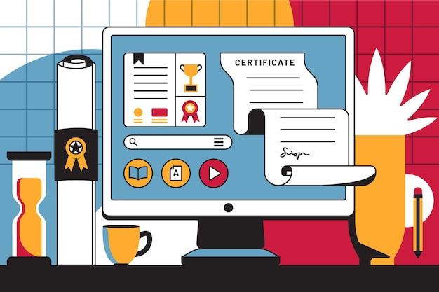Ilustração de certificação on-line na tela do computador