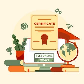 Ilustração de certificação online