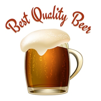 Ilustração de cerveja de melhor qualidade com uma caneca de vidro de cerveja escura ou lager com uma maravilhosa cabeça espumosa transbordando do copo e o texto em arco acima da ilustração vetorial, isolada no branco
