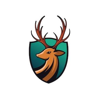 Ilustração, de, cervos, escudos