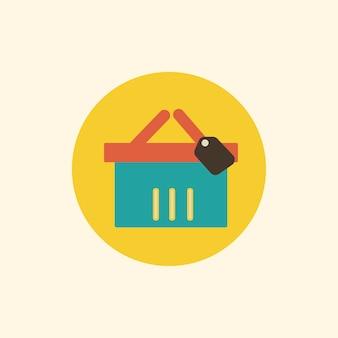 Ilustração, de, cesta shopping, ícone