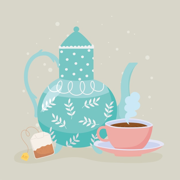 Ilustração de chá, chaleira e saquinho de chá de bebida quente