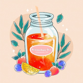 Ilustração de chá de kombuchá em aquarela com frutas