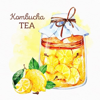 Ilustração de chá de kombuchá em aquarela com limões