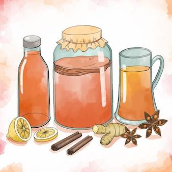 Ilustração de chá de kombuchá em aquarela