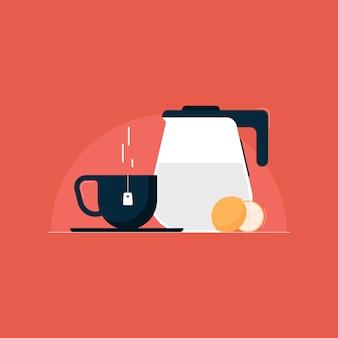 Ilustração de chá de limão com bule e xícara, conceito de hora do chá
