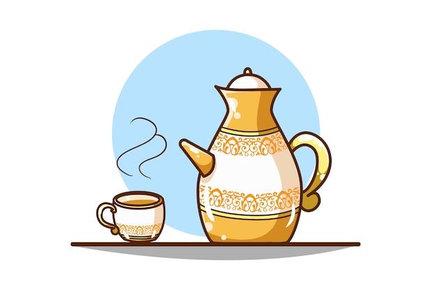 Ilustração de chaleira e taças reais